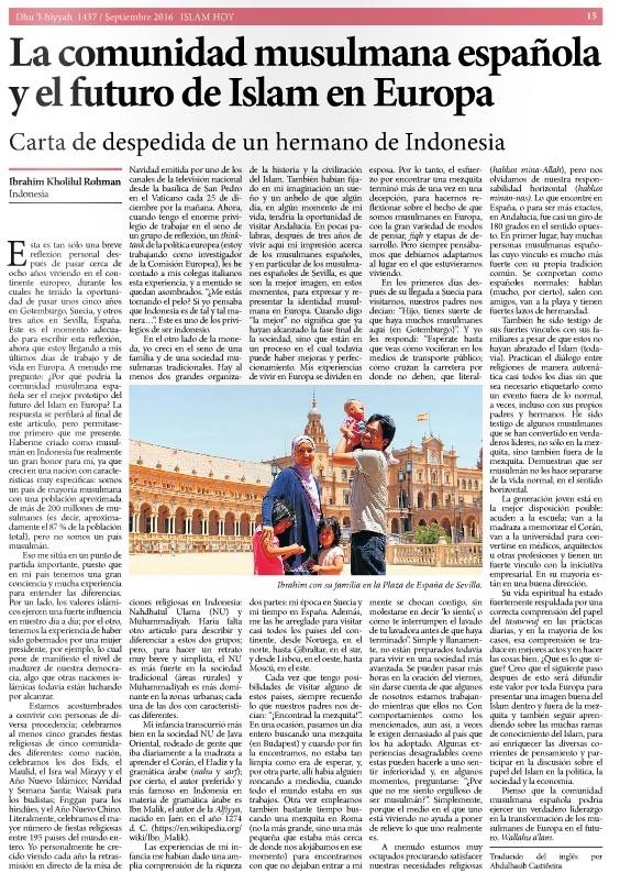 The Spanish Muslim Society And The Future Of Islam In Europe A Good Bye Letter From An Indonesian Brother Keluarga Ibrahim